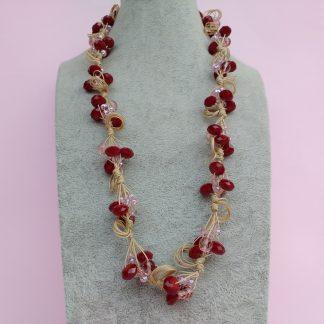 Collana di Cristalli e Perle in Vetro e Mezzo Cristallo Bordeaux e Rosa