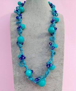 Collana di Perle in Vetro e Mezzo Cristallo Turchesi e Blu