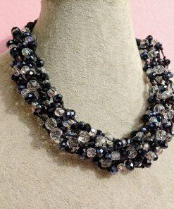 Collana Multifilo di Perle Trasparenti e Nere