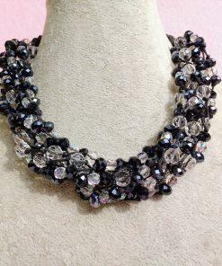 Collana Multifilo di Perle Trasparenti e Nere in Vetro e Mezzo Cristallo