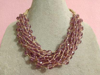 Collana Multifilo di Perle in Vetro Rosa
