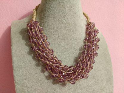 Collana Multifilo Rosa, Perle in Vetro