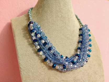 Collana Multifilo di Perle Azzurre, Blu e Trasparenti