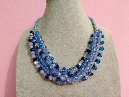 Collana Multifilo di Perle Azzurre, Blu e Trasparenti in Vetro e Mezzo Cristallo