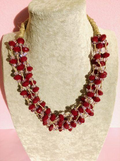 Collana Multifilo di Perle Rosa e Bordeaux