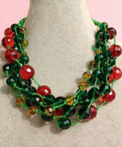 Collana Multifilo di Perle Rosse, Gialle e Verdi