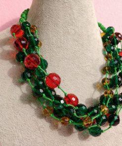 Collana Multifilo di Perle in Vetro e Mezzo Cristallo Rosse, Gialle e Verdi