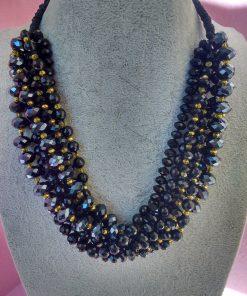 Collana di Perle Nere e Oro