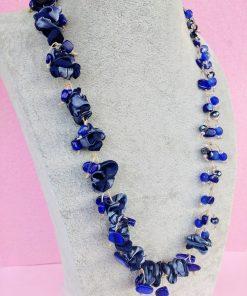 Collana Lunga in Organza, Mezzo Cristallo e Vetro Blu