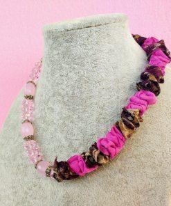 Collana di Quarzo Rosa e Organza, Artigianale