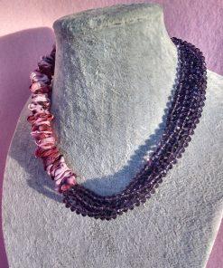 Collana Multifilo di Cristalli Viola e Organza Rosa