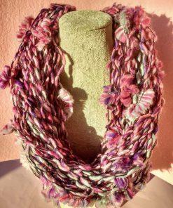 Collana Sciarpa Lunga di Lana Rosa