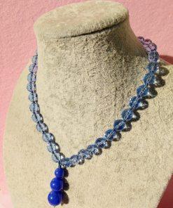 Girocollo di Agata Blu e Mezzi Cristalli Azzurri