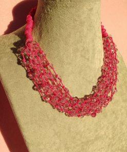 Collana Multifilo con Cordino Fucsia e Cristalli Rosa