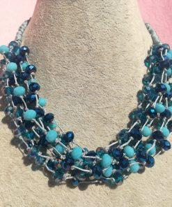Collana Multifilo Azzurra con Cordino, Cristalli, Mezzo Cristallo e Chiusura ad Asola