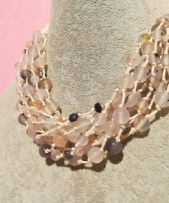 Collana Multifilo di Agata Bianca con Sfere Lisce