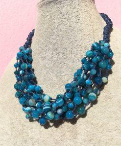Collana Multifilo di Agata Blu Striata con Sfere Lisce
