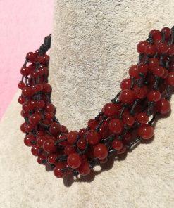 Collana Multifilo di Agata Rossa con Sfere Lisce