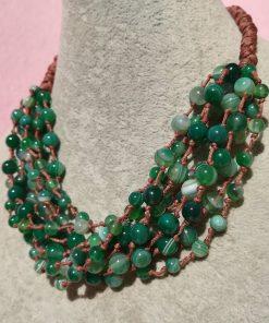 Collana Multifilo di Agata Verde Striata con Sfere Lisce
