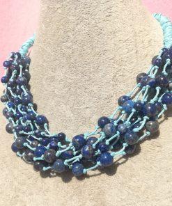 Collana Multifilo di Lapislazzuli con Sfere Lisce