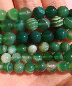 Pietre Dure di Agata Verde Striata, Tonde e Lisce, Fili per Fai da Te