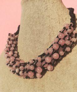 Collana Artigianale Multifilo con Pietre Dure di Quarzo Rosa, Elegante