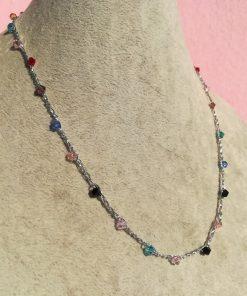 Collana Colorata all'Uncinetto Artigianale e Cristalli Bicono