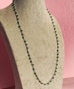 Collana Lunga all'Uncinetto e Cristalli Bicono Verdi