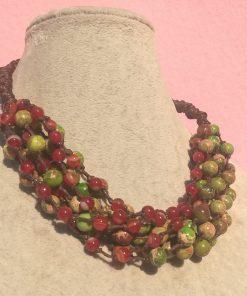 Collana Multifilo di Agata Rossa e Diaspro Imperiale Verde Chiaro con Sedimenti Marini