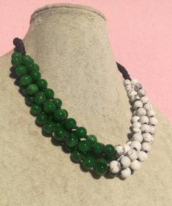 Collana Multifilo Artigianale di Howlite Bianca e Giada Verde
