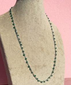 Collana all'Uncinetto Verde Artigianale e Cristalli Bicono