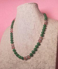 Collana Verde con Pietre Dure di Giada e Quarzo Fragola con Rondelle di Strass