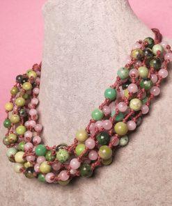 Collana Multifilo con Pietre Dure di Crisoprasio e Quarzo Rosa, Artigianale
