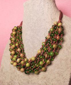 Collana Multifilo con Pietre Dure di Peridoto e Diaspro Imperiale Verde con Sedimenti, Artigianale