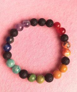 Bracciale Colorato Elastico 7 Chakra con Pietre Vere e Lava
