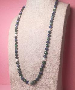 Collana Lunga Blu e Verde con Pietre Dure di Crisocolla Azzurrite e Perline Polvere di Stelle Placcate in Argento