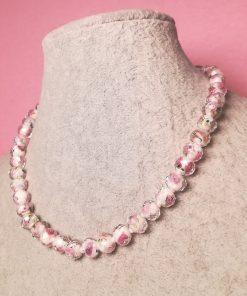 Collana Girocollo in Perle di Vetro Floreali Sfaccettate Bianche e Rosa